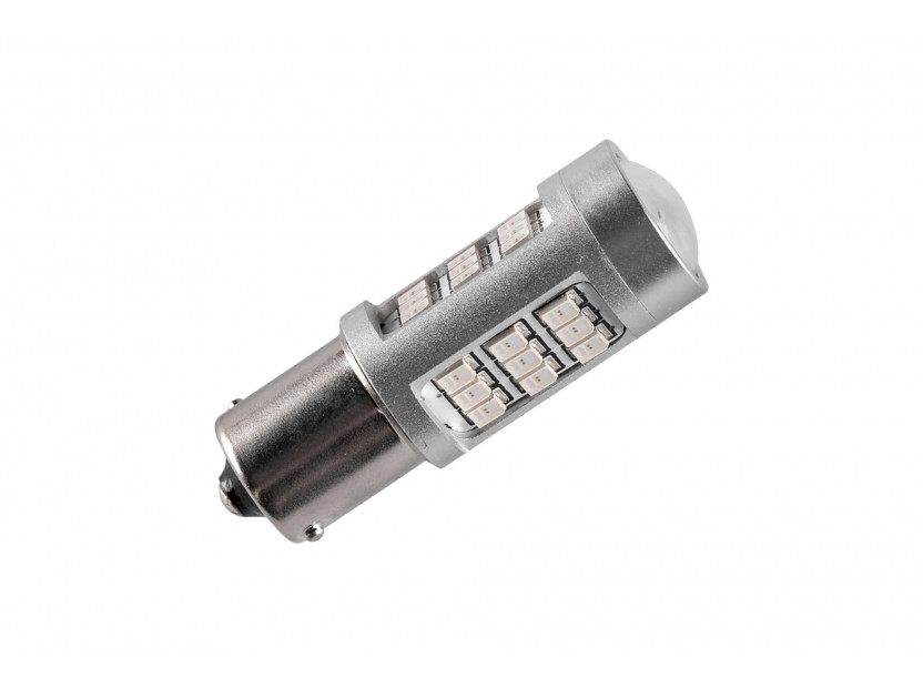 LED лампа AutoPro P21W червена, 12V, 10W, BA15s, 1 брой 2