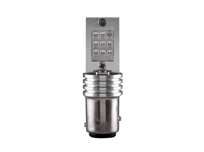 LED лампа AutoPro P21/5W червена, 12V, 6/1W, BAY15d, 1брой