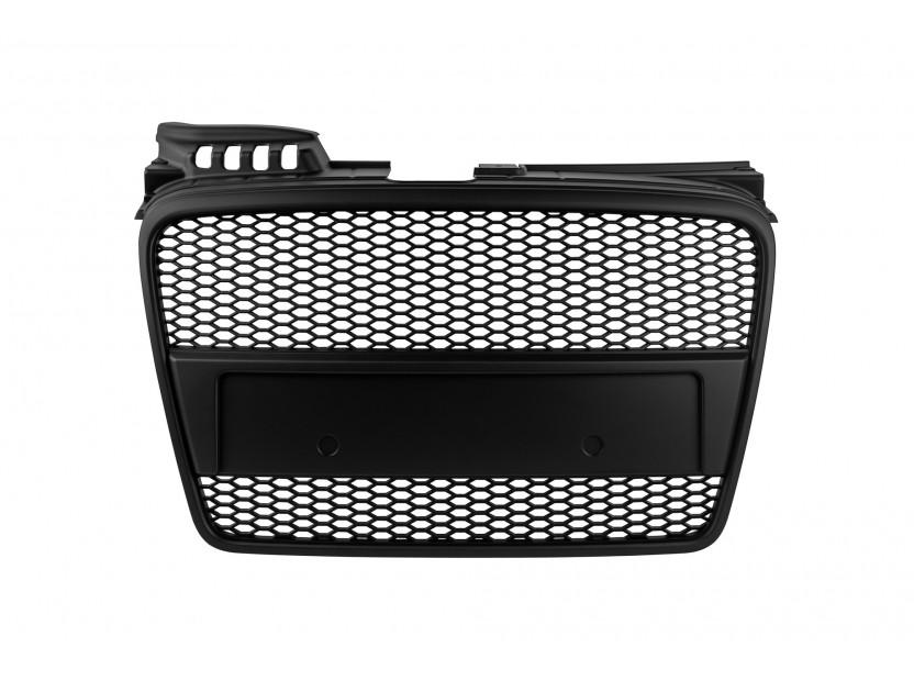 Черен мат решетка без емблема тип RS за Audi A4 B7 седан, комби 2004-2007 без отвори за парктроник
