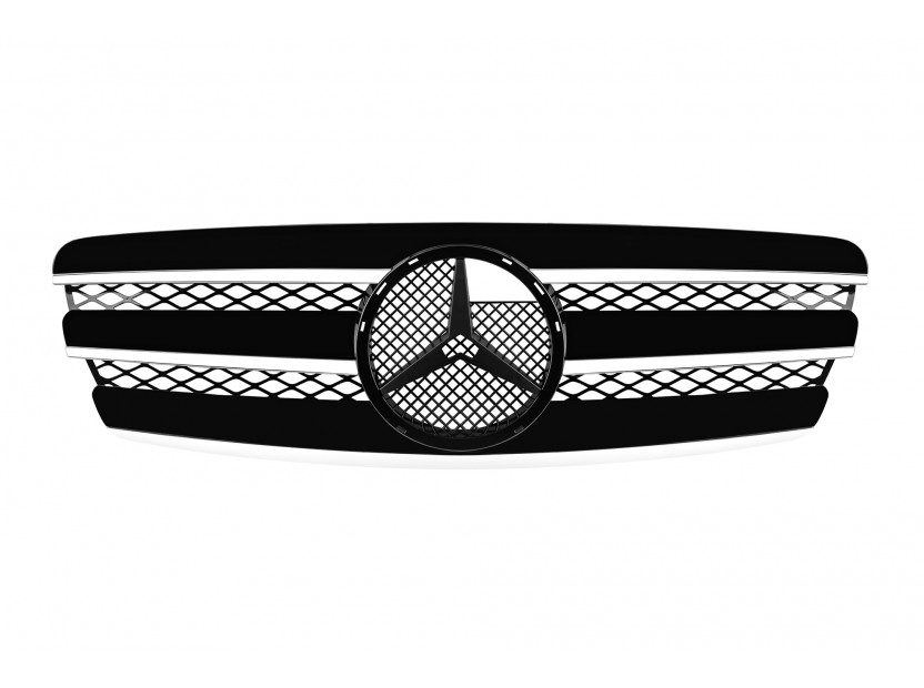 Хром/черна решетка за Mercedes E класа W211 2002-2006