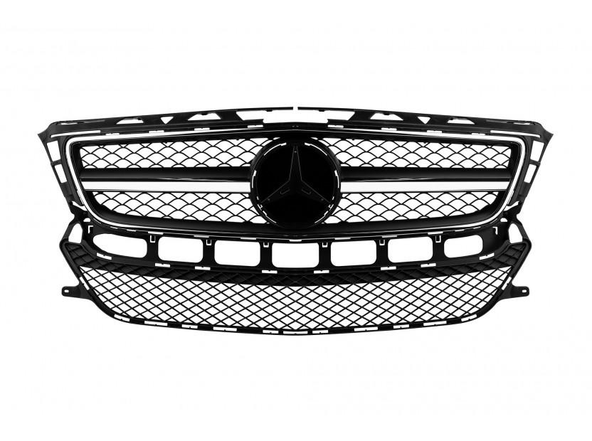 Хром/черна решетка тип AMG за Mercedes CLS C218 2011-2014 без отвори за парктроник, съвместима с предна стандартна броня