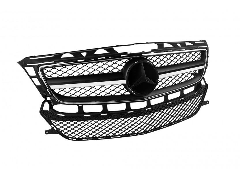 Хром/черна решетка тип AMG за Mercedes CLS C218 2011-2014 без отвори за парктроник, съвместима с предна стандартна броня 2