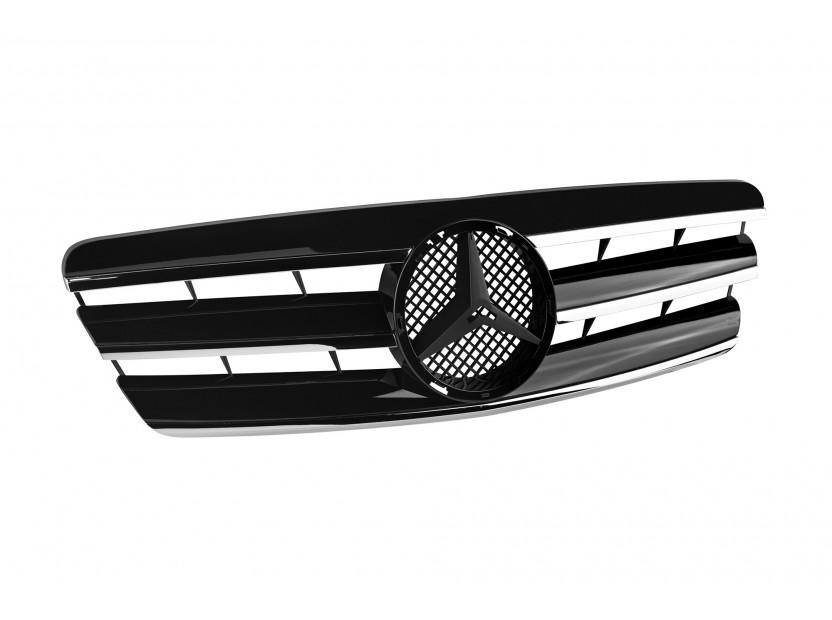 Хром/черна решетка за Mercedes C класа W203 2000-2007 2