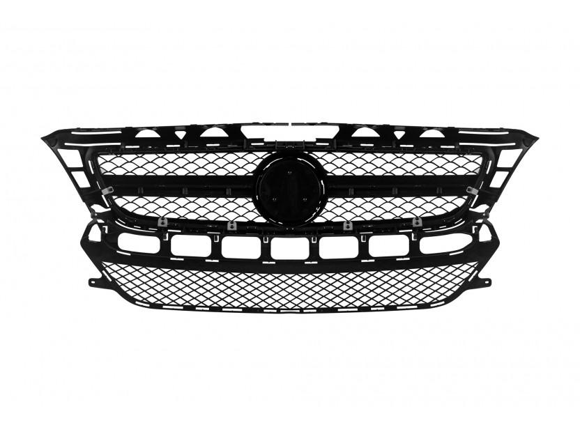 Хром/черна решетка тип AMG за Mercedes CLS W218 2011-2014 без отвори за парктроник, съвместима с предна стандартна броня 3
