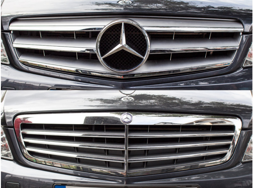 Хром/сива решетка тип Avantgarde за Mercedes C класа W204 седан, комби, купе 2007-2014 4