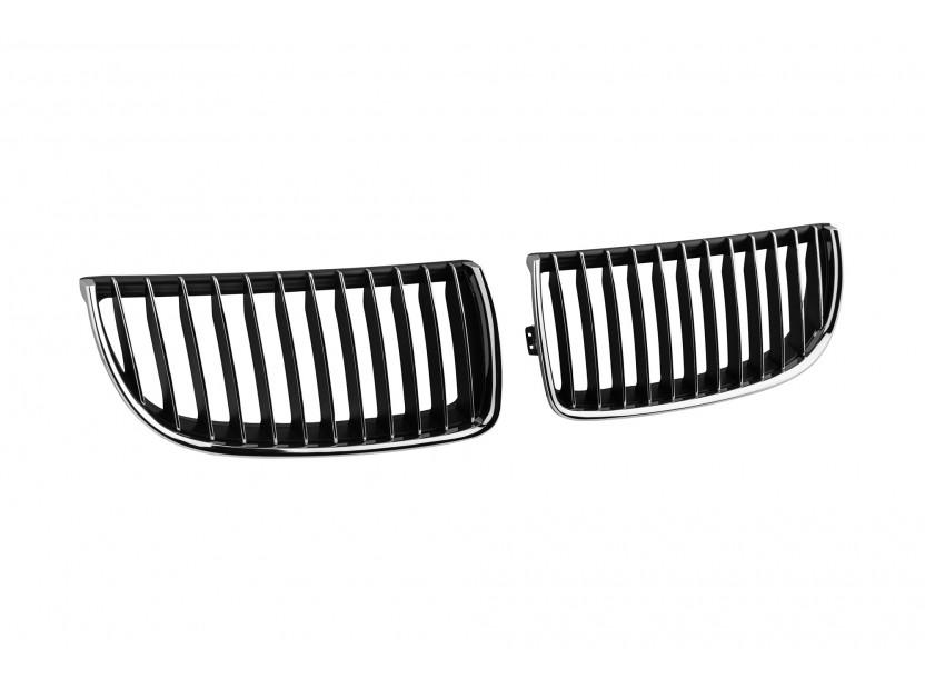 Бъбреци хром/черни за BMW серия 3 E90 седан, E91 комби 2005-2008 2