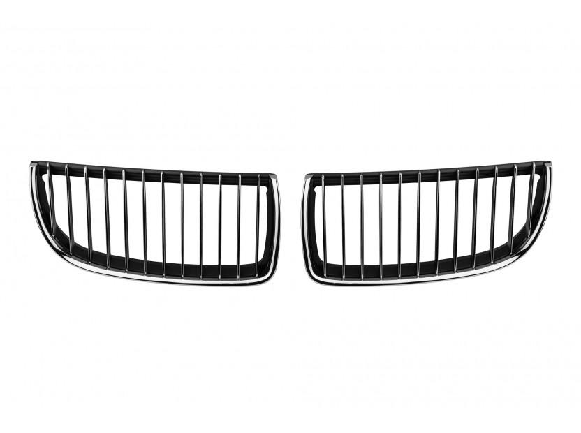 Бъбреци хром/черни за BMW серия 3 E90 седан, E91 комби 2005-2008