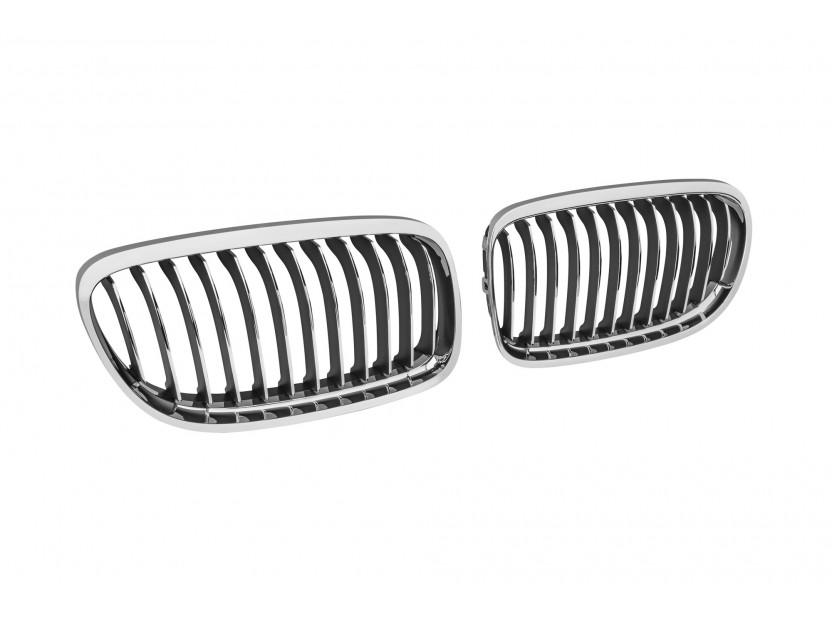 Бъбреци хром/черни за BMW серия 3 E90 седан, E91 комби 2008-2011 2