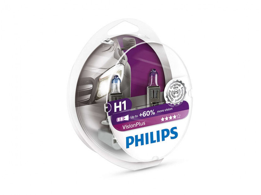 Комплект 2 броя халогенни крушки Philips H1 Vision Plus 12V, 55W, P14.5s