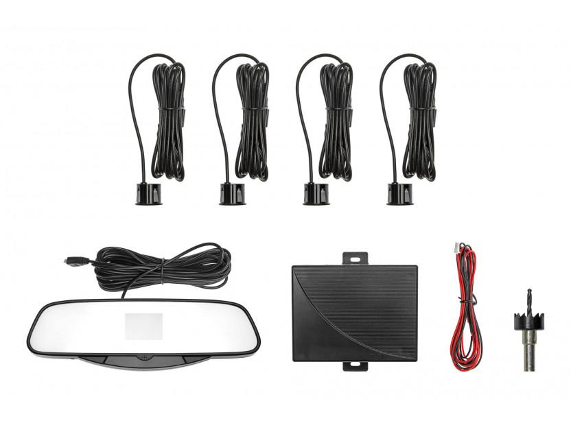 Парктроник система с VFD дисплей тип огледало за обратно виждане с 4 черни датчика