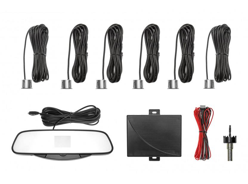 Парктроник система с VFD дисплей тип огледало за обратно виждане с 6 сиви датчика