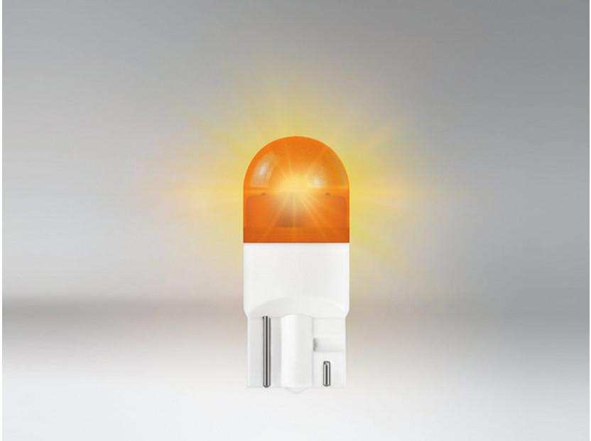Комплект 2 броя LED лампи Osram тип W5W жълти, 12V, 1W, W2.1x9.5d 3