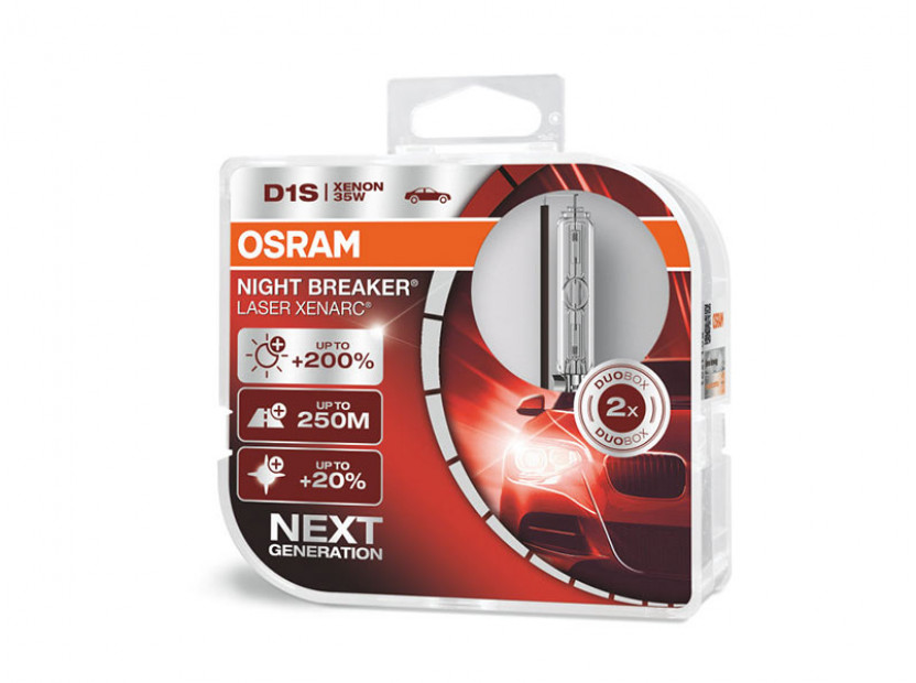 Комплект 2 броя ксенонови лампи Osram D1S Xenarc Night Breaker Laser +200% 85V, 35W, PK32d-2, 3200lm