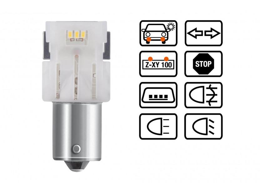 Комплект 2 броя LED лампи Osram тип P21W бели 6000K, 160LM, 12V, 1.40W, BA15s 3