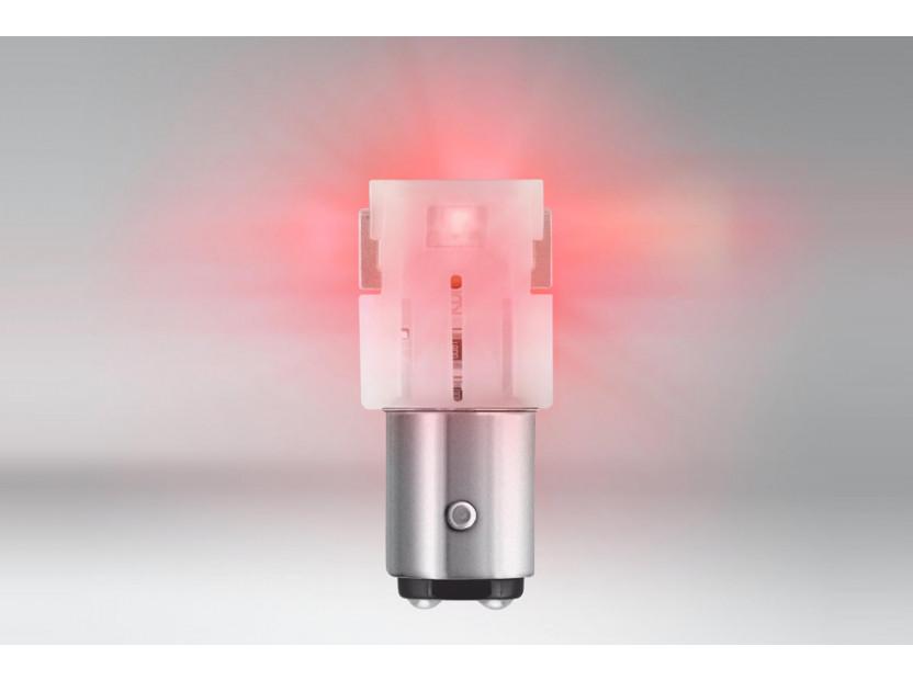 Комплект 2 броя LED лампи Osram тип P21/5W червени, 100LM, 12V, 1.40W, BAY15d 2