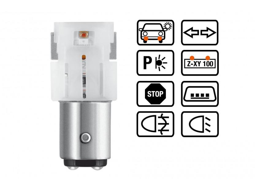 Комплект 2 броя LED лампи Osram тип P21/5W червени, 100LM, 12V, 1.40W, BAY15d 3