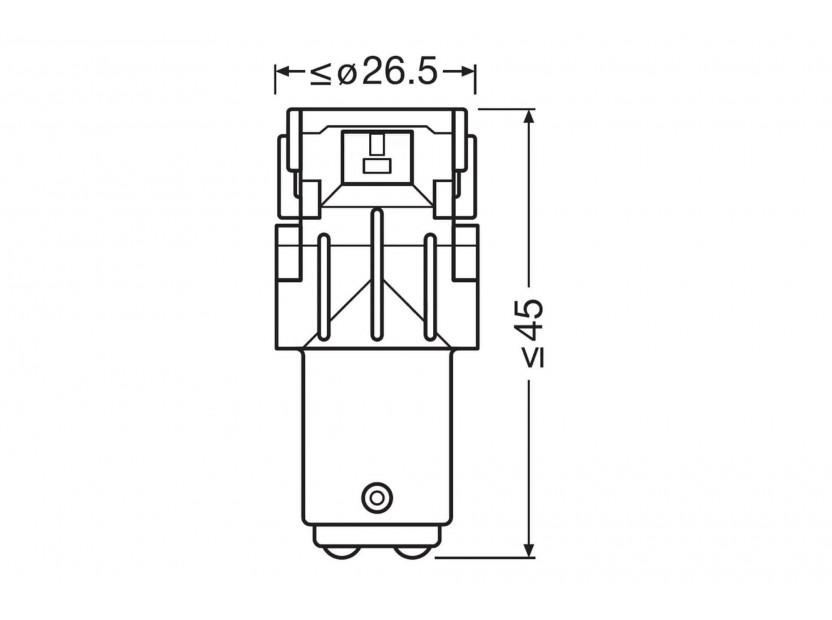 Комплект 2 броя LED лампи Osram тип P21/5W червени, 100LM, 12V, 1.40W, BAY15d 4