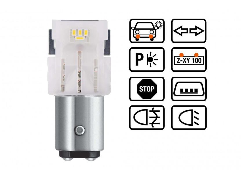 Комплект 2 броя LED лампи Osram тип P21/5W бели 6000K, 145LM, 2W, BAY15d 3