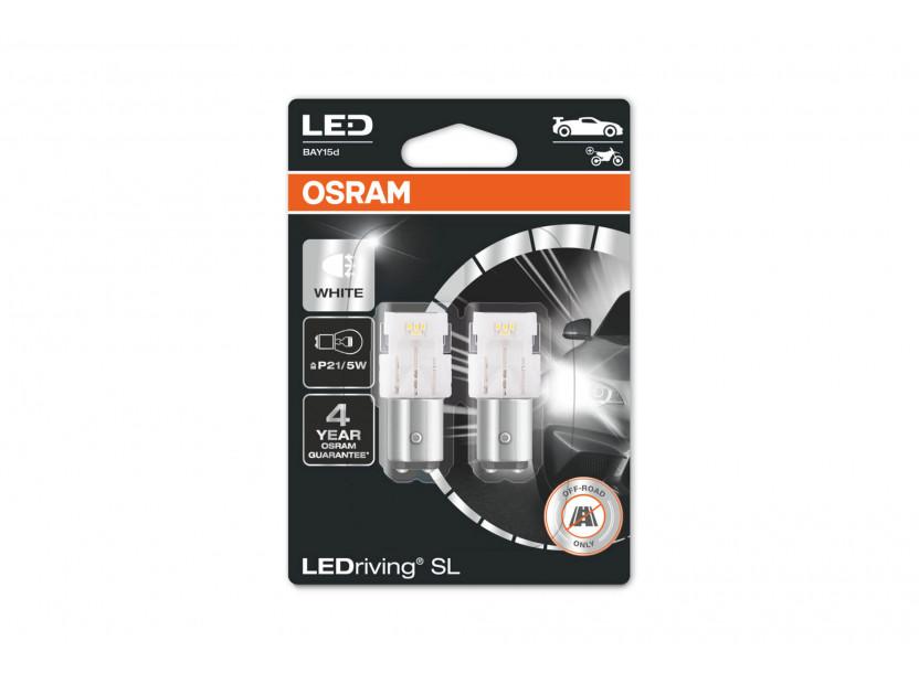 Комплект 2 броя LED лампи Osram тип P21/5W бели 6000K, 145LM, 2W, BAY15d