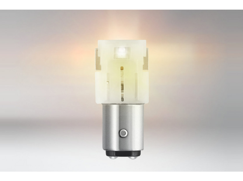 Комплект 2 броя LED лампи Osram тип P21/5W кехлибар, 55LM, 12V, 1.30W, BAY15d 2