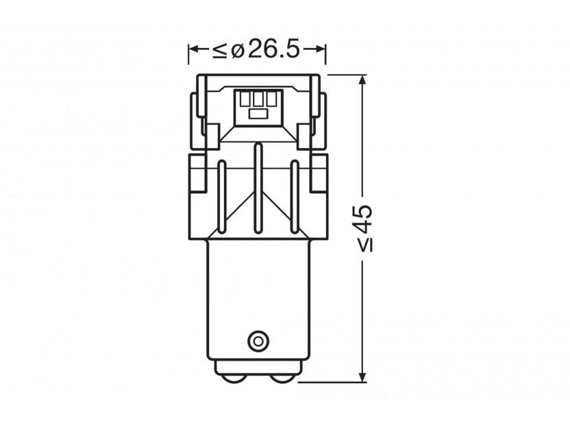 Комплект 2 броя LED лампи Osram тип P21/5W кехлибар, 55LM, 12V, 1.30W, BAY15d 4