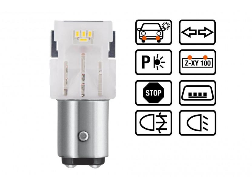 Комплект 2 броя LED лампи Osram тип P21/5W кехлибар, 55LM, 12V, 1.30W, BAY15d 3