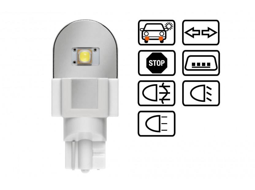 Комплект 2 броя LED лампи Osram тип W16W бели 6000K, 280LM, 12V, 2.10W, W2.1x9.5d 4