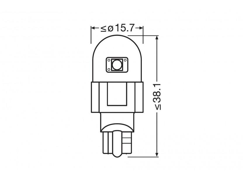 Комплект 2 броя LED лампи Osram тип W16W бели 6000K, 280LM, 12V, 2.10W, W2.1x9.5d 5