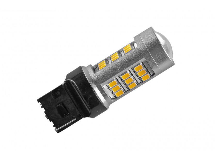 LED лампа AutoPro W21W оранжева, 12V, 10W, W3x16d, 1 брой 2