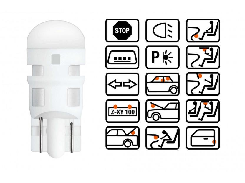 Комплект 2 броя LED лампи Osram тип W5W червени, 15LM, 12V, 0.6W, W2.1x9.5d 3