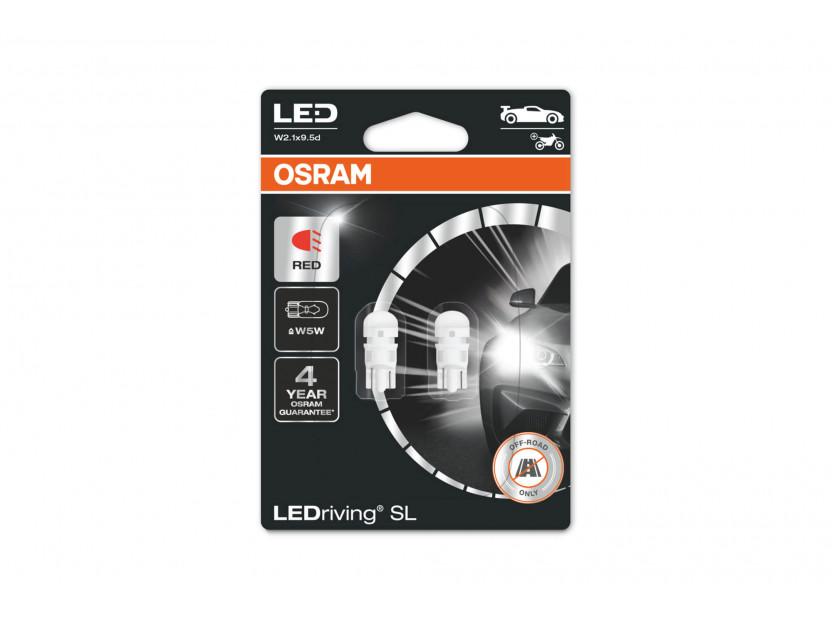Комплект 2 броя LED лампи Osram тип W5W червени, 15LM, 12V, 0.6W, W2.1x9.5d