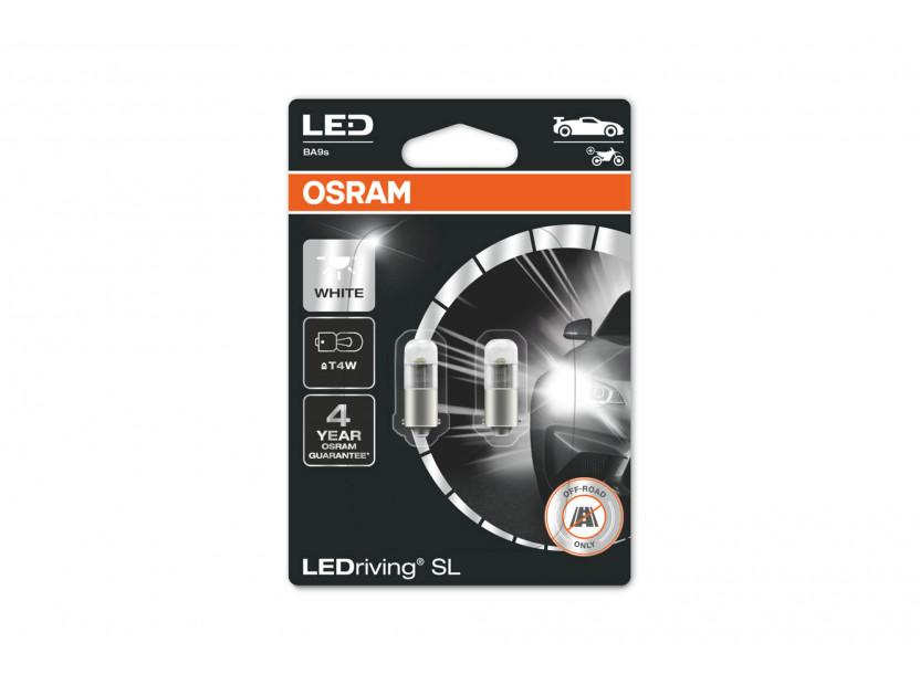 Комплект 2 броя LED лампи Osram тип T4W бели 6000K, 75LM, 12V, 0.80W, BA9s