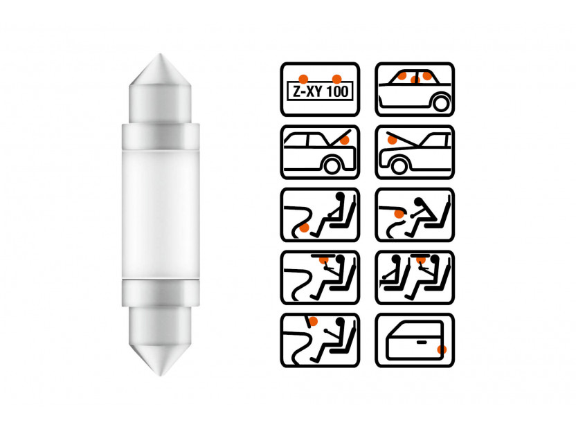 LED лампа Osram тип C5W 41mm., студено бяла 6000K, 12V, 25LM, 0.60W, SV8.5-8, 1 брой 4