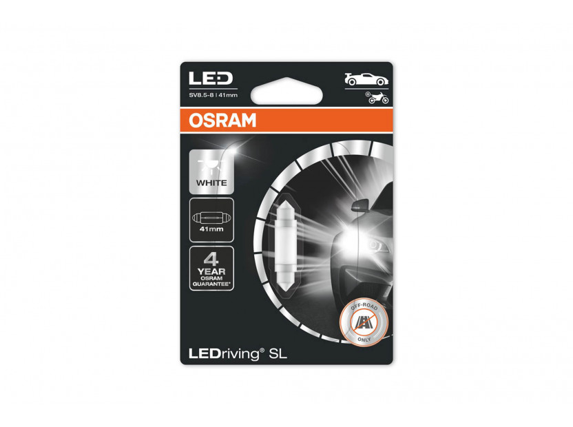 LED лампа Osram тип C5W 41mm., студено бяла 6000K, 12V, 25LM, 0.60W, SV8.5-8, 1 брой