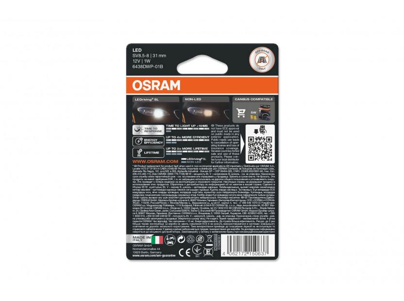 LED лампа Osram тип C5W 31mm., студено бяла 6000K, 12V, 45LM, 1W, SV8.5-8, 1 брой 2