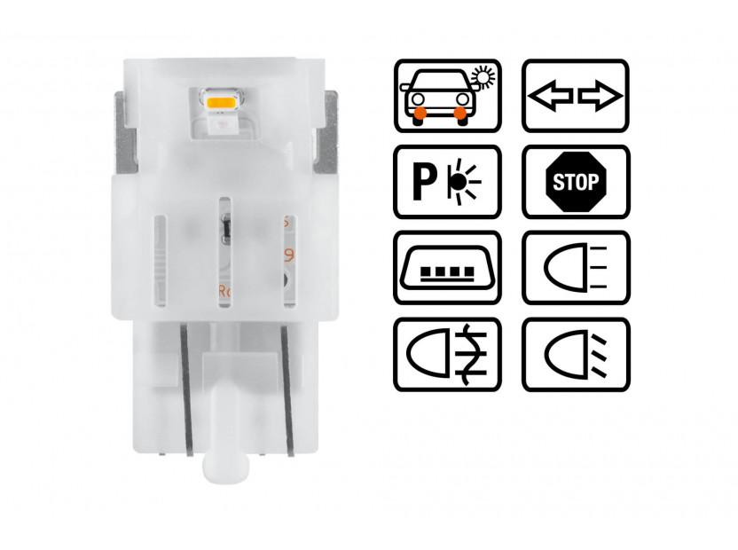 Комплект 2 броя LED лампи Osram тип W21W бели 6000K, 145LM, 12V, 2W, W3x16d 3