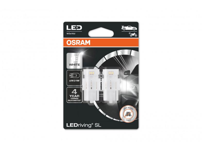 Комплект 2 броя LED лампи Osram тип W21W бели 6000K, 145LM, 12V, 2W, W3x16d