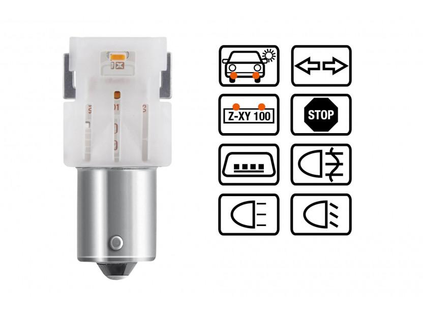 Комплект 2 броя LED лампи Osram тип P21W, червени, 12V, 100LM, 1.40W, BA15s 4