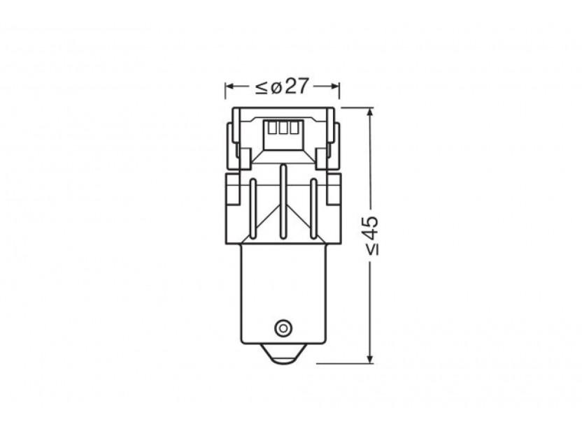 Комплект 2 броя LED лампи Osram тип P21W, червени, 12V, 100LM, 1.40W, BA15s 5