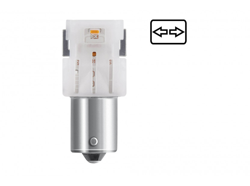 Комплект 2 броя LED лампи Osram тип PY21W кехлибар, 50LM, 12V, 1.30W, BAU15s 3