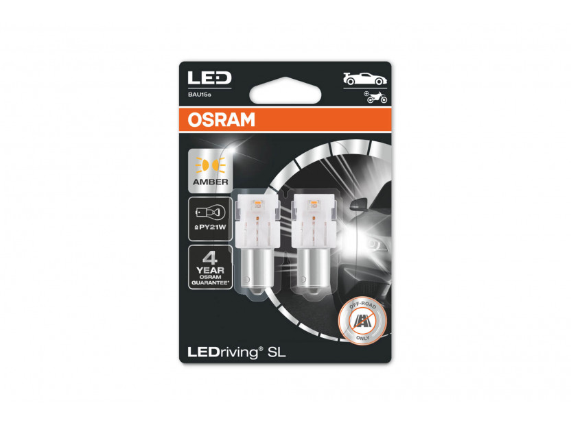 Комплект 2 броя LED лампи Osram тип PY21W кехлибар, 50LM, 12V, 1.30W, BAU15s