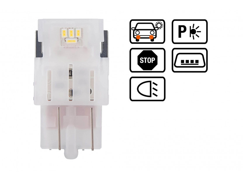 Комплект 2 броя LED лампи Osram тип W21/5W бели 6000K, 155LM, 12V, 1.90W, W3x16q 3