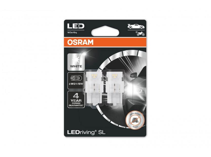 Комплект 2 броя LED лампи Osram тип W21/5W бели 6000K, 155LM, 12V, 1.90W, W3x16q