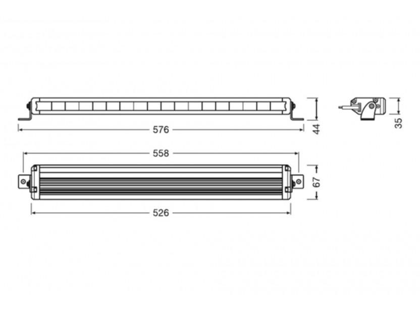 LED бар Osram 526x36x67mm, 6000K, 2800LM, 54W, 12/24V, IP67, E-mark E4 7