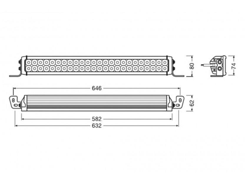 LED бар Osram 582x62x80mm, 6000K, 4100LM, 72W, 12/24V, IP67, E-mark E4 7