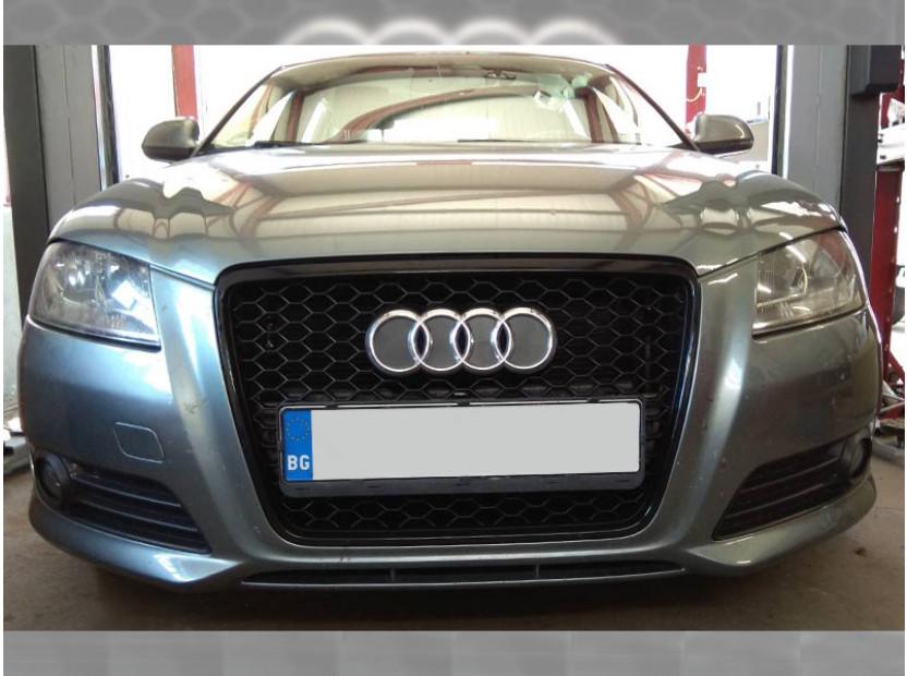 Черна решетка за Audi A3 2009-2011 тип RS без отвори за парктроник 11