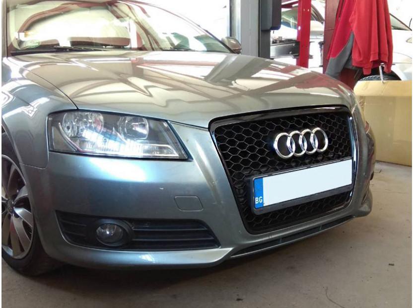 Черна решетка за Audi A3 2009-2011 тип RS без отвори за парктроник 12
