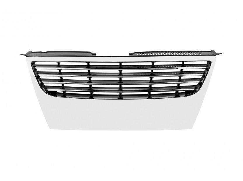Хром/черна решетка без емблема за VW Passat 2005-2010 без отвори за парктроник