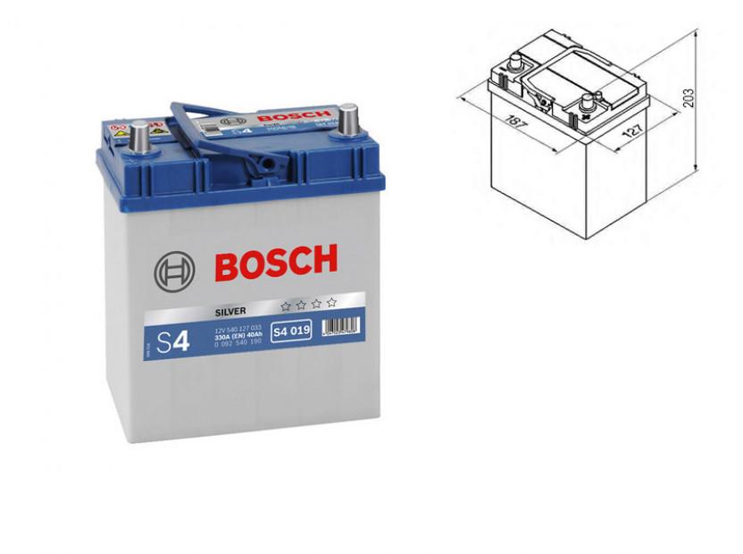 Акумулатор BOSCH Silver S4 12V 40Ah 330 A с тънки полюси с ляв (+) АЗИЯ