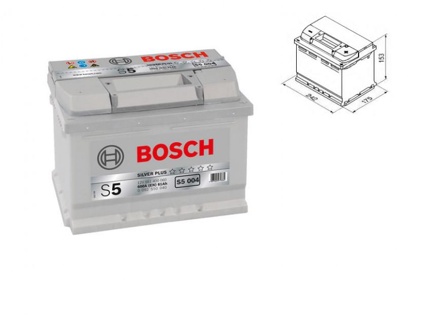 Акумулатор BOSCH Silver Plus S5 12V 61Ah 600 A с десен (+)